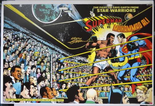 SUPERMAN vs MUHAMMAD ALI PRINT HAND SIGNED Neal Adams w COA /& Guest Chart
