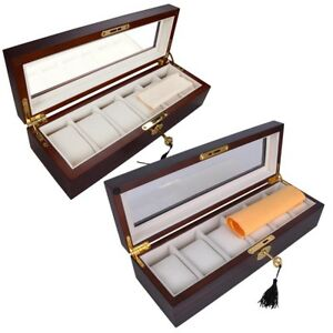 6 Slot Watch Display Case Wood Box Top Glass Jewelry Storage