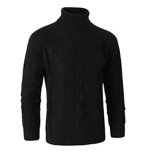 Mens-Chunky-Cable-Knit-Sweater-Thick-Jumper-Turtle-Neck-Pullover-Irish-Knitwear