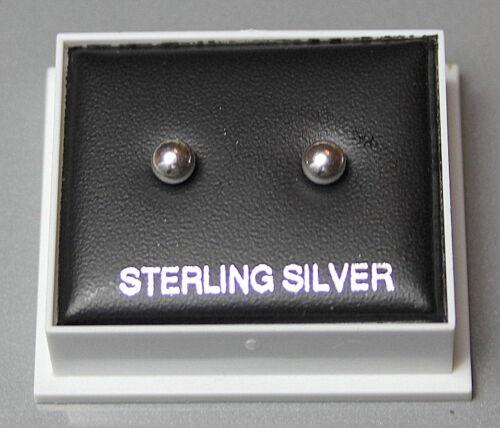 STERLING SILVER 925 PLAIN 4MM BALL STUDS STUD EARRINGS BUTTERFLY BACKS BOXED