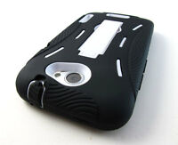BLK WHITE IMPACT HARD SOFT SHELL CASE COVER KICKSTAND HTC ONE X X+ ATT ACCESSORY
