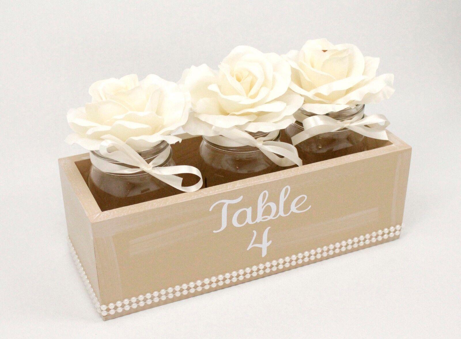 Taupe, Ivory & Pearl Centerpiece Box, Mason Jars, Flowers, Pearl Wedding...