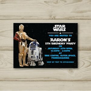 Image Is Loading 10 Personalised Birthday Party Invitations Star Wars R2