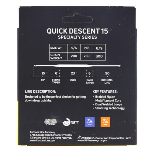 Details about  /Cortland Quick Descent 15 Fly Line ALL SIZES FREE SHIPPING