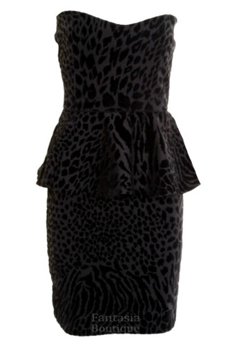 Haut femme imprimé animal peplum frill noir blanc rouge robe moulante Mesdames boobtube