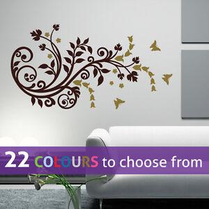 Image is loading FLOWERS-BUTTERFLIES-floral-ornament-foliage-swirls-wall -art- & FLOWERS BUTTERFLIES floral ornament foliage swirls wall art sticker ...