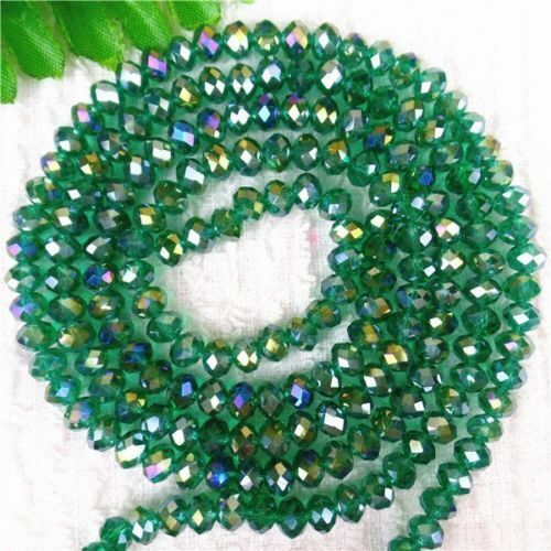 Multicolor Choice Crystal Glass Rondelle Faceted Spacer Beads 18.89inch HH6305