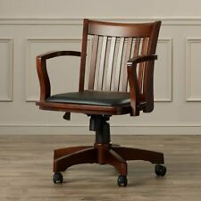 Delux Office Desk Bankers Chair Swivel Rolling Padded Seat Solid Wood Espresso