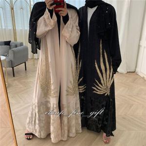 New Women Lace Cardigan Dubai Wedding Abaya Muslim Open Front Kaftan Maxi Dress
