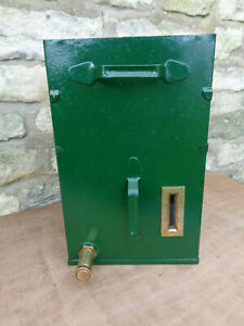 Vintage Oil Dispenser with Brass Oil Tap. Restored, Spray Painted Castrol Green.