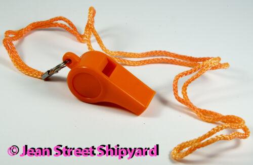 Marine Boat Sports Orange Plastic Boat Safety Signal Whistle with Lanyard 46011