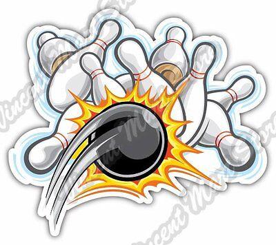 "Bowling Pin Ball Pins Strike Cartoon Car Bumper Vinyl Sticker Decal 5/""X4/"""