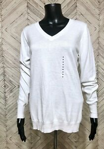 NWT-Worthington-White-V-Neck-Cotton-Blend-Knit-Polar-Bear-Pullover-Sweater-M