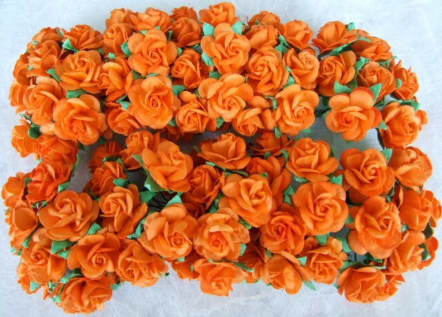 100 ORANGE MULBERRY PAPER ROSE FLOWER ARTIFICIAL CRAFT SCRAPBOOK WEDDING MP-OR20