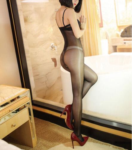Bodysuit Playsuit Body offen Pantyhose SCHWARZ Black transparent unisex Glänzend