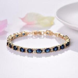 12Ct-Oval-Cut-Blue-Sapphire-Diamond-Tennis-Bracelet-Solid-14K-Yellow-Gold-Finish