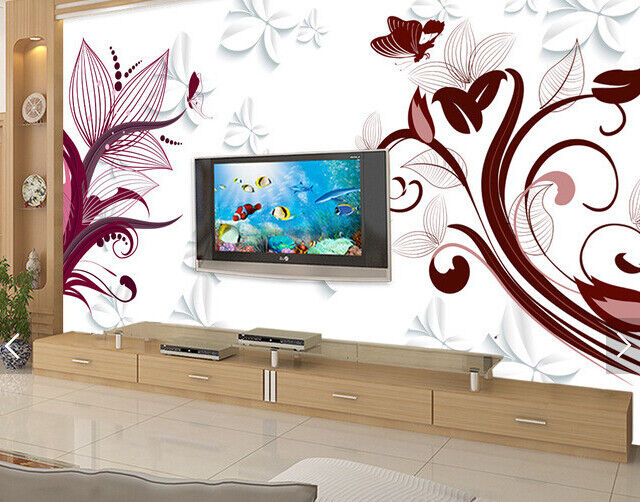 3D ROT Leaf Pattern 8 Wallpaper Mural Paper Wall Print Wallpaper Murals UK Carly