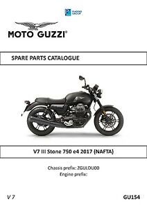 Details about Moto Guzzi parts manual book 2017 V7 III Stone 750 e4