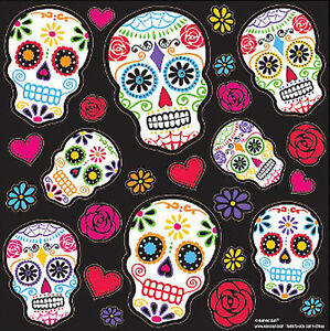 Day of the dead wall stickers 20 scrapbook dia de los for Day of the dead mural