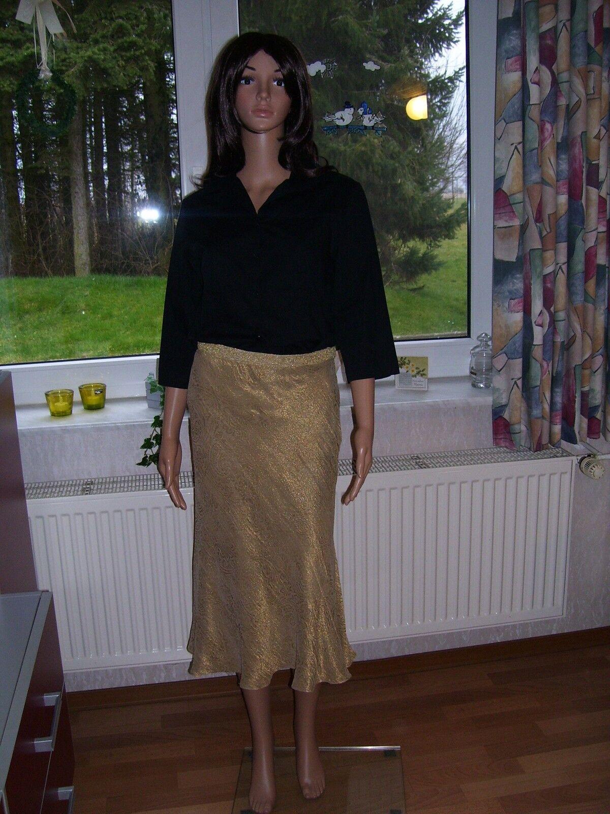 Ralph Lauren Henrietta Skirt Rock edel glänzender Seidenrock Gold Grösse 4 S neu