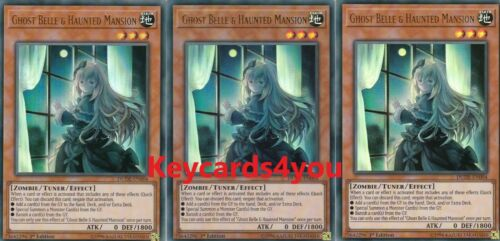 DUDE-EN004 ULTRA  1ST EDITION YUGIOH 3 X GHOST BELLE /& HAUNTED MANSION
