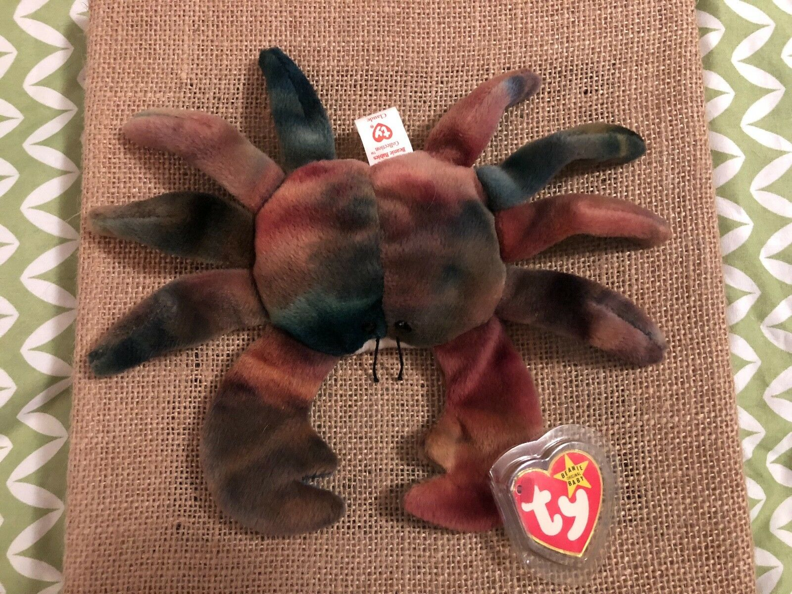 TY Beanie Baby, CLAUDE The Crab, Mint, Extremely Rare, Errors-Retired