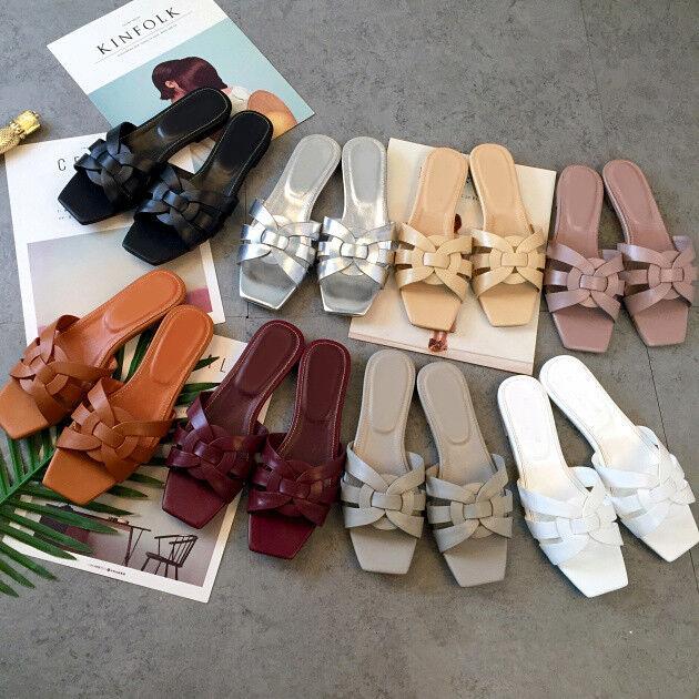 Cómodo y bien parecido als05 2018 SeXy Zapatos De Verano Mujer Informal Zapatillas punta cuadrada