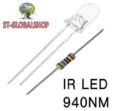 25 diodi led 5 mm infrarosso 940nm trasmettitore EMETTITORE IR LED RESISTENZE