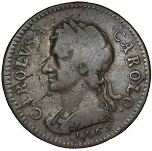 1665 PATTERN FARTHING - CHARLES II BRITISH COPPER COIN