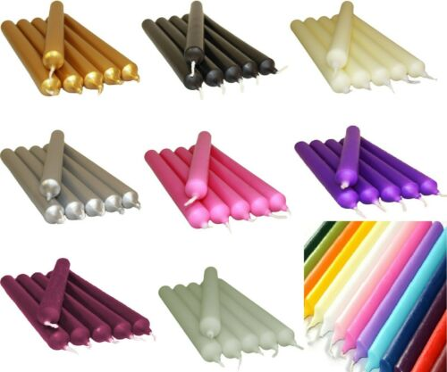 5 x Colourful Dinner Candles Bistro Church Home Party Candles Tapered Non Drip