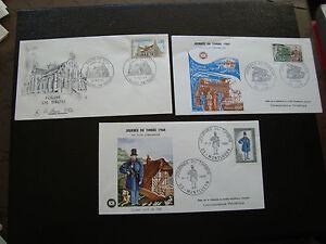 FRANCE-3-enveloppes-1er-jour-1968-1969-journee-du-timbre-brou-cy77-french