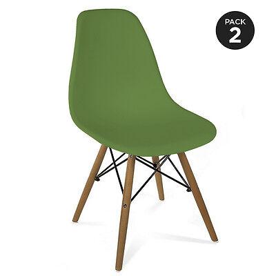 2 Sillas verdes de diseño retro estilo RCD-7189V pack 2 sillas Mchaus