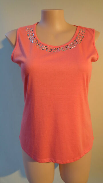 Millers new size 14 coral sleeveless top NWT beaded peach