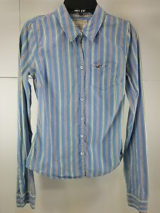 dd9d6f6d6 Image is loading Pre-Owned-Girls-Hollister-Striped-Long-Sleeve-Button-