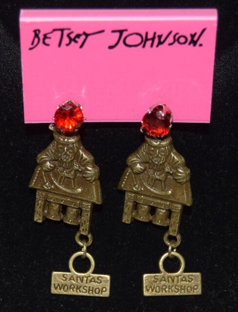 BETSEY JOHNSON GORGEOUS CRYSTAL SANTA'S WORKSHOP CHRISTMAS EARRINGS NEW W/TAGS