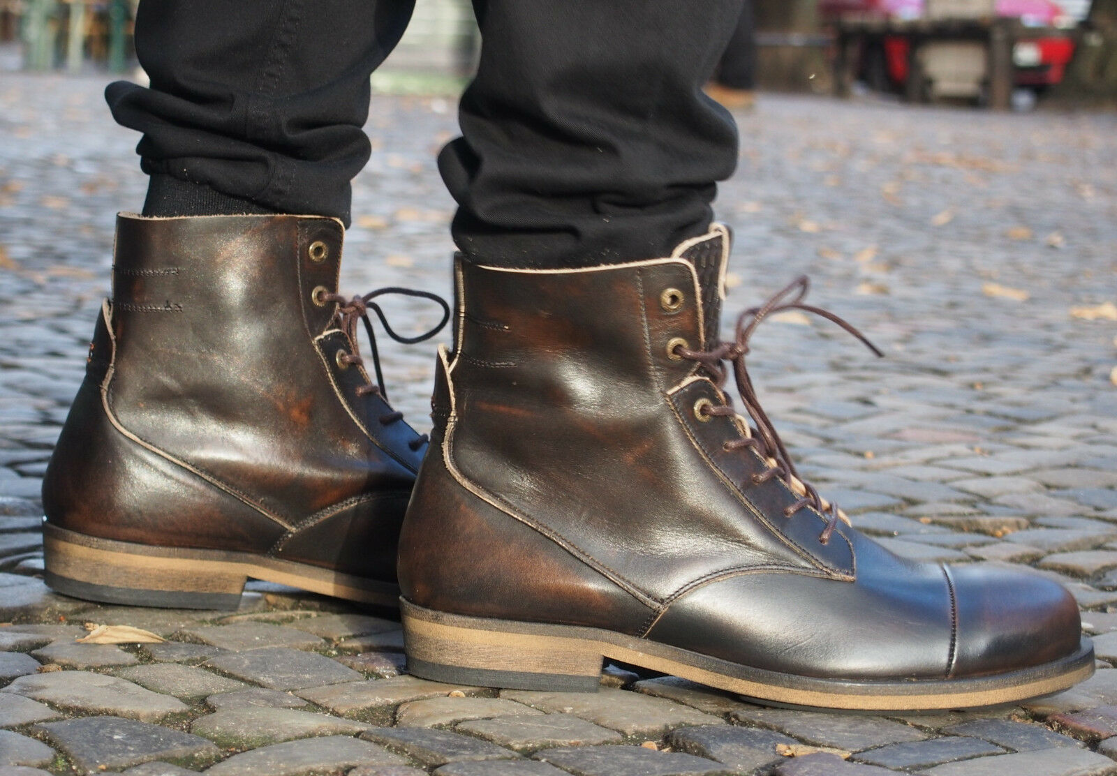 HUB Footwear Herrenschuhe Fullback coffee braun Stiefelette Echtleder NEU SALE