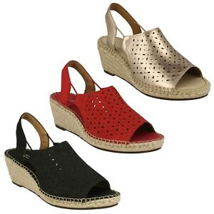 b3437f395b1 Details about LADIES CLARKS NUBUCK WEDGE PEEP TOE SLING BACK SUMMER SANDALS  SIZE PETRINA GAIL