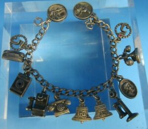 Vintage-Pacific-Northwest-Bell-Telephone-925-CTO-Sterling-Silver-Charm-Bracelet