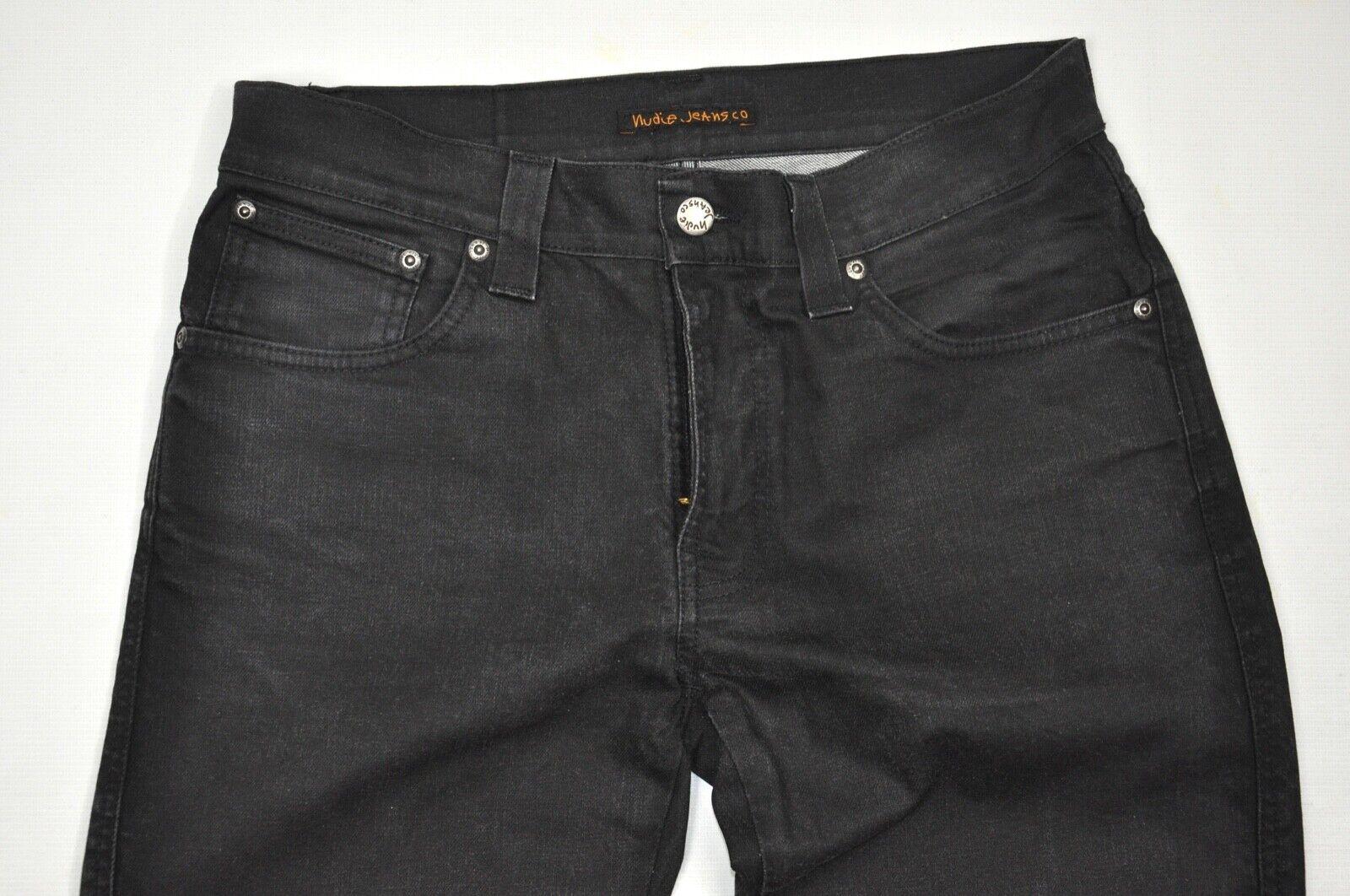 Nudie Jeans NJ2751 Slim Jim seco recubierto de súperdry  W33 L32 Negro  primera reputación de los clientes primero