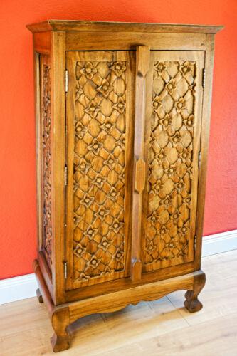 Massivholz Kommode 100cm  Schrank Wohnzimmer Möbel Massiv Holz Highboard mit Tür