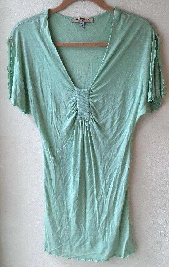 See By Chloe Paris Größe 8 Grün Shirt Split Sleeves Ruffle Hems