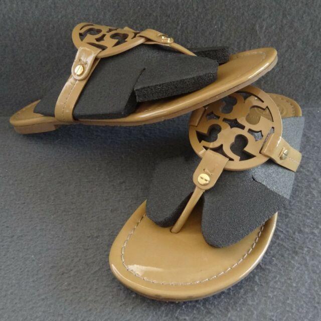 Tory Burch Miller 8.5 Patent Sand Thong Logo Sandal Flip Flop Toe Post 50008647