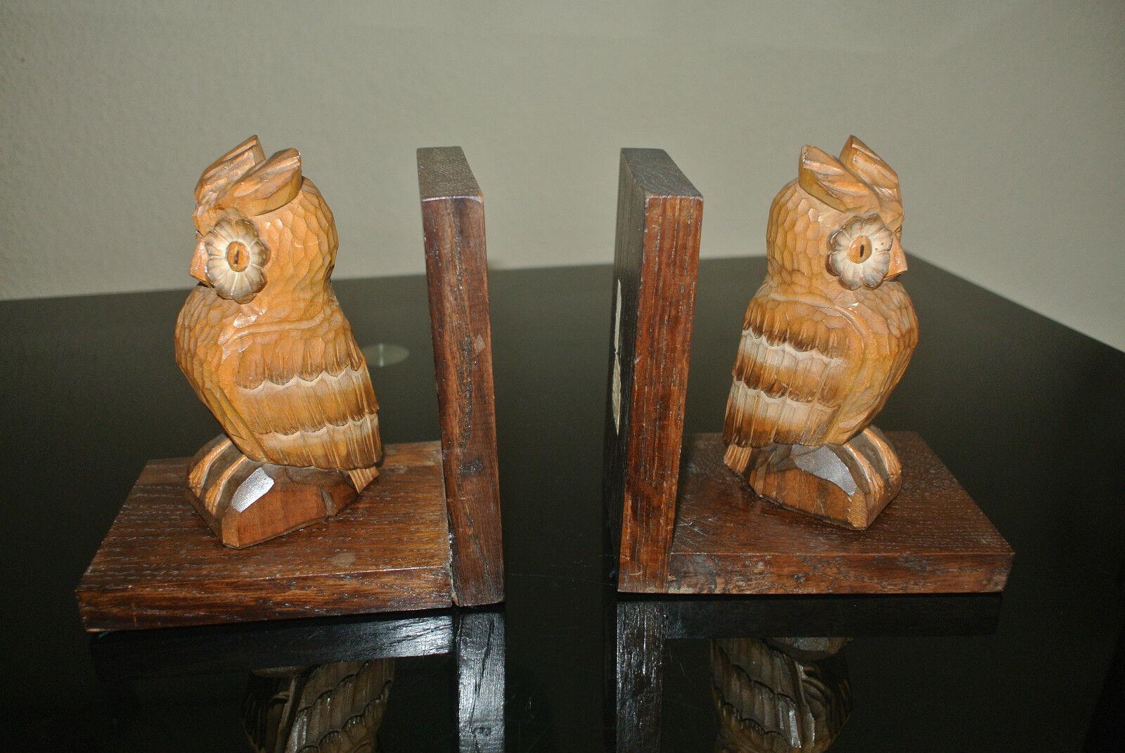 Paar alte geschnitzte Buchstützen - Eulen   (12-16)