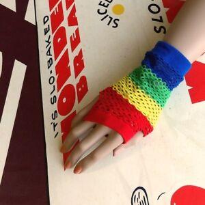 80s Rainbow Stripes Fishnet Fingerless Gloves Arm Warmer