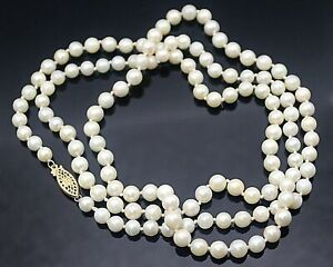 """MUST HAVE ELEGANT 6MM GENUINE PEARLS 14K GOLD CLASP LONG NECKLACE 34"""""""