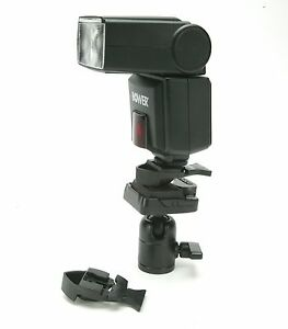 "Bracket To Attach Canon, Nikon, Metz, Sony Shoe Flash To 1/4"" Thread On Holder."