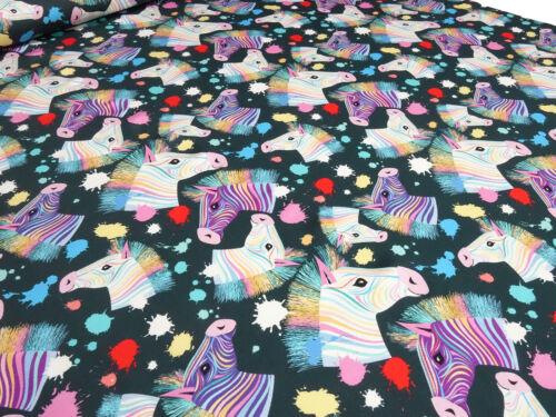 Stoff Baumwolle Jersey Zebra Pferde dunkelgrau multicolor bunt Kinderstoff
