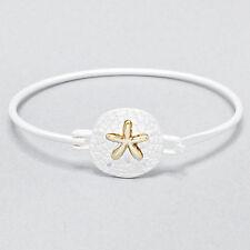 Sand Dollar Bangle Bracelet MATTE SILVER Sealife Beach Starfish Surf Jewelry