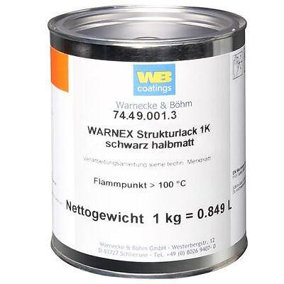 1 kg WB WARNEX 25,49€/kg Strukturfarbe schwarz halbmatt Strukturlack Boxenfarbe