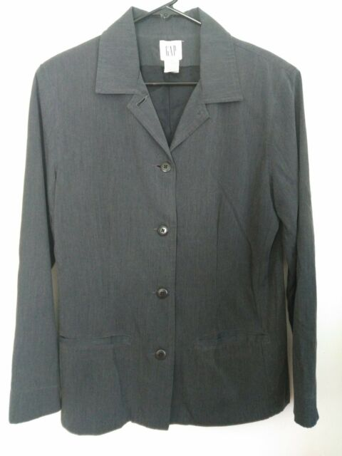 Women S Size Medium Gap Heather Gray Rayon Polyester Blend Lined Blazer Jacket